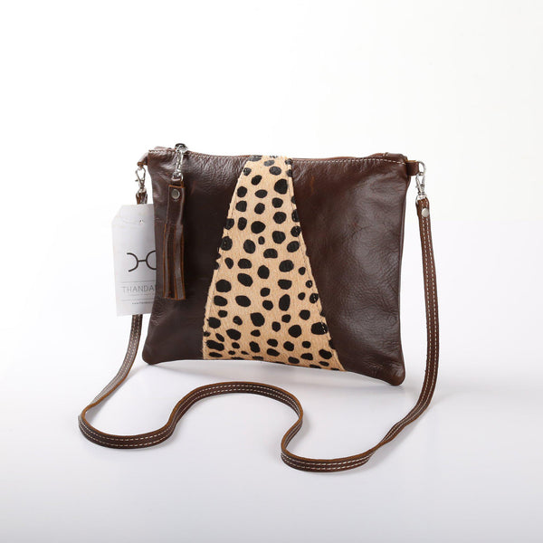 Thandana Crossover Animal Print Leather Handbag | Tobacco Cheetah Print - KaryKase