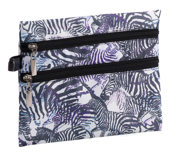 Caramia Zebcrossing Double Zip Cosmetic Case | Black/White - KaryKase