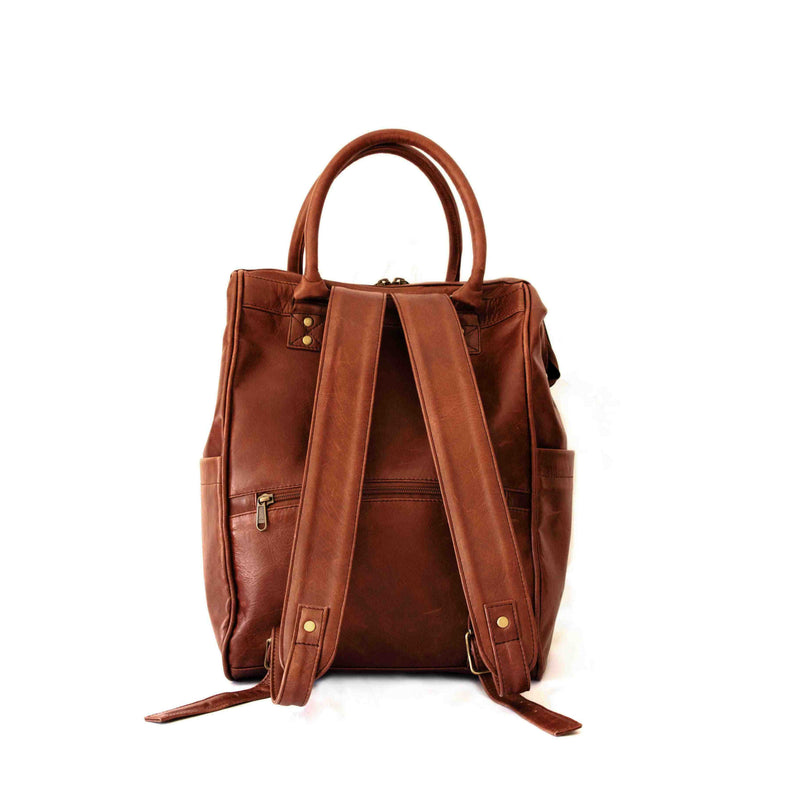 Mally Bambino Leather Baby Backpack | Brown