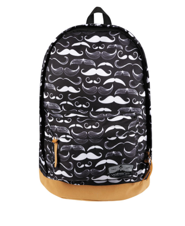 Volkano Suede Series Backpack | Moustaches (Black)