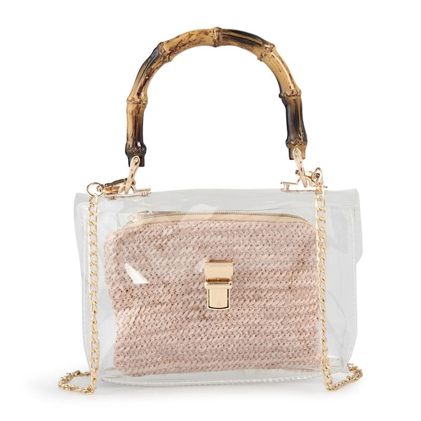 Tessa Design Bamboo Handle Transparent Bag - KaryKase