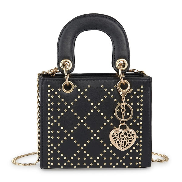 Tessa Design Patterned Stud Bag | Black - KaryKase