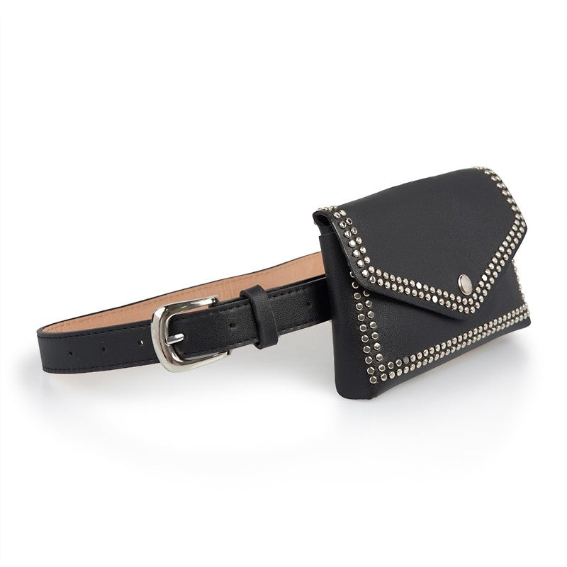 Tessa Design Stud Trim Waist Bag | Black - KaryKase