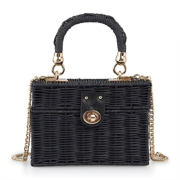Tessa Design Wicker Suitcase Bag | Black - KaryKase