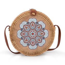 Tessa Design Blue Detail Wicker Bag - KaryKase