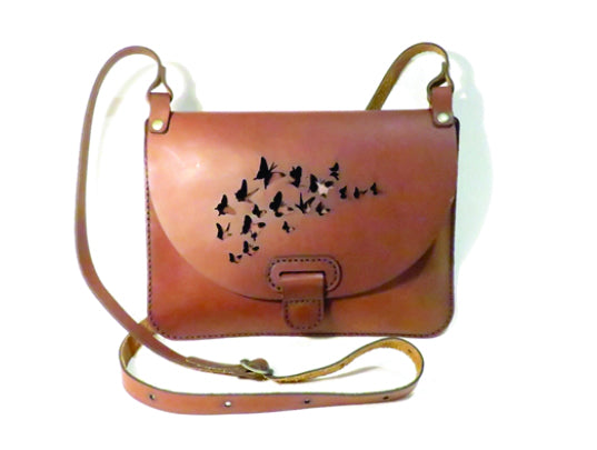 Yuppie Gift Baskets Butterfly Design Leather Clutch Handbag | Brown - KaryKase