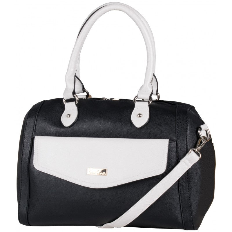 Pierre Cardin Compartment Barrel Handbag | Black/Pearl - KaryKase