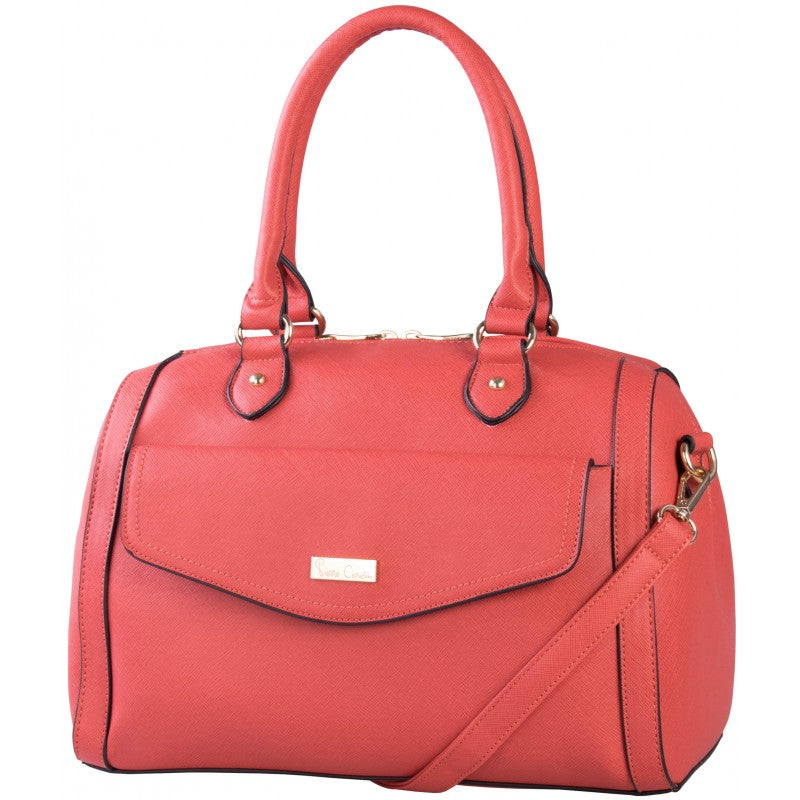 Pierre Cardin Compartment Barrel Handbag | Coral - KaryKase