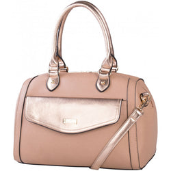 Pierre Cardin Compartment Barrel Handbag | Sand/Rose Gold - KaryKase