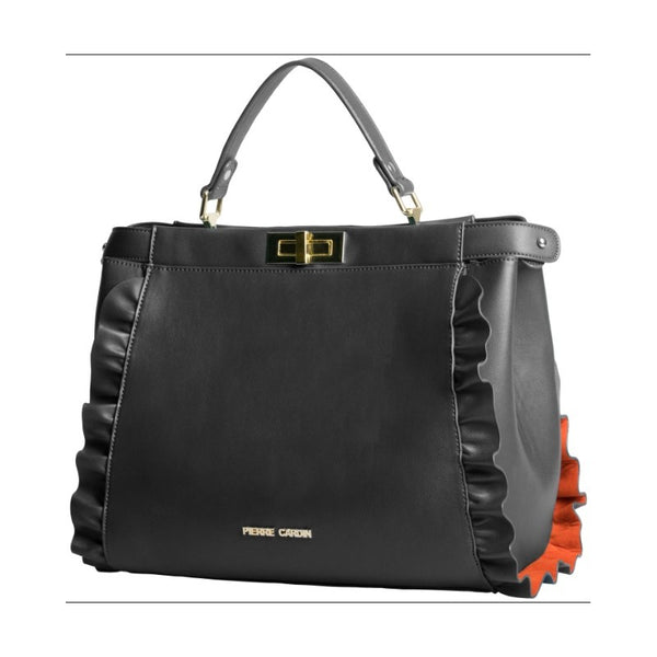 Pierre Cardin Delilah Ruffle Top Handle Handbag | Black - KaryKase