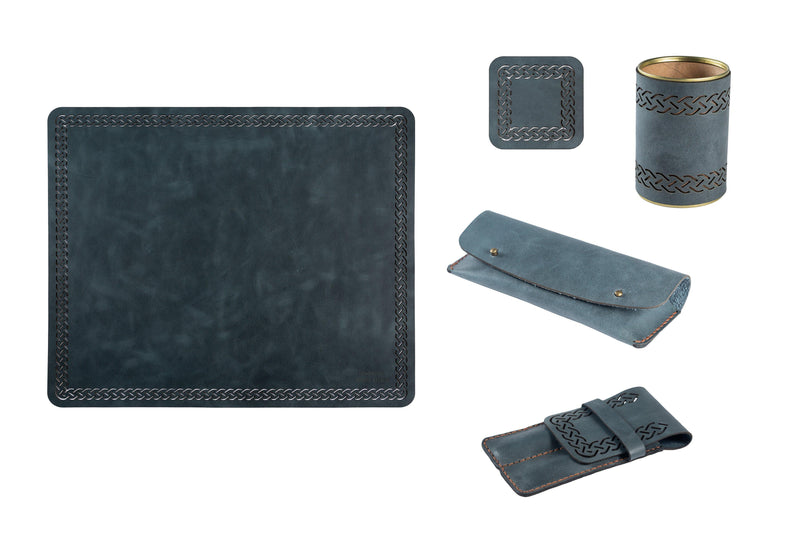 Yuppie Gift Baskets Leather Deskpad 5-Piece Set | Blue - KaryKase