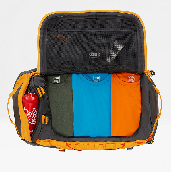 The North Face Base Camp 95L Duffel (Large) | Asphalt Grey / Zinnia Orange