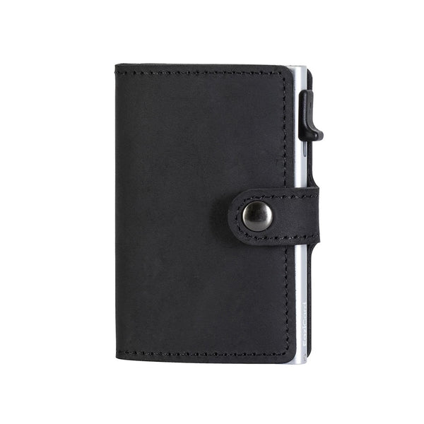 EaziCard Genuine Leather Saddle RFID Wallet | Black/Silver - KaryKase