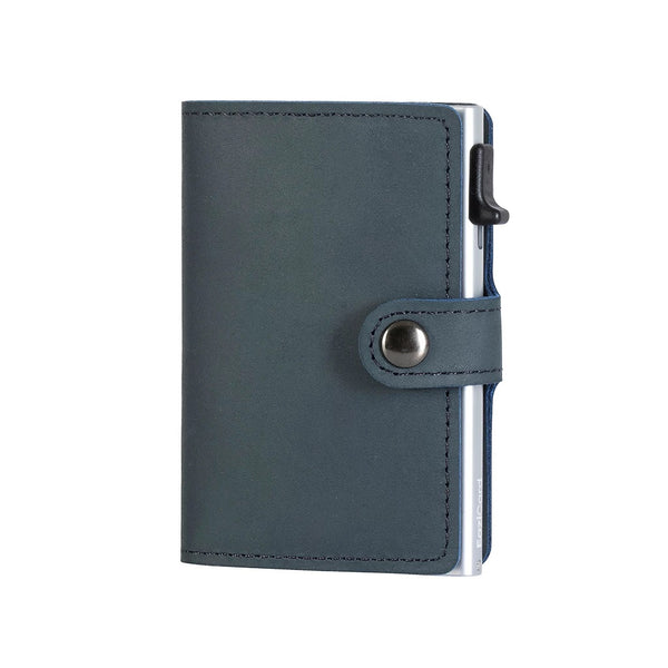 EaziCard Genuine Leather Saddle RFID Wallet | Blue/Silver - KaryKase