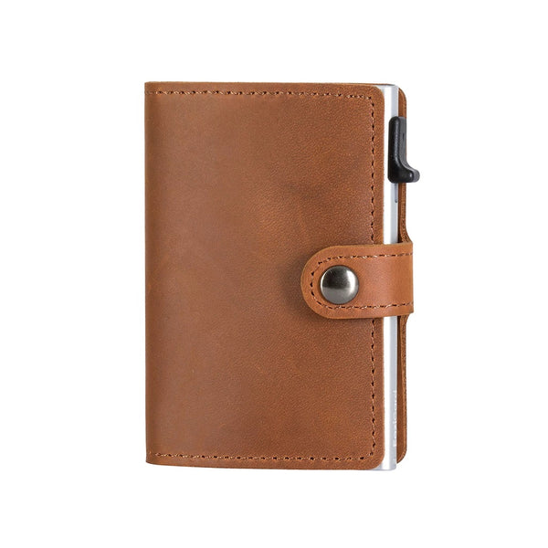 EaziCard Genuine Leather Saddle RFID Wallet | Brown/Silver - KaryKase