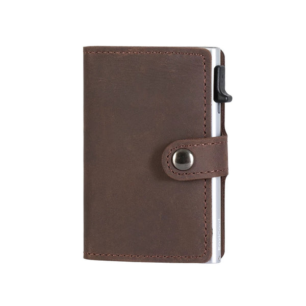 EaziCard Genuine Leather Saddle RFID Wallet | Dark Brown/Silver - KaryKase