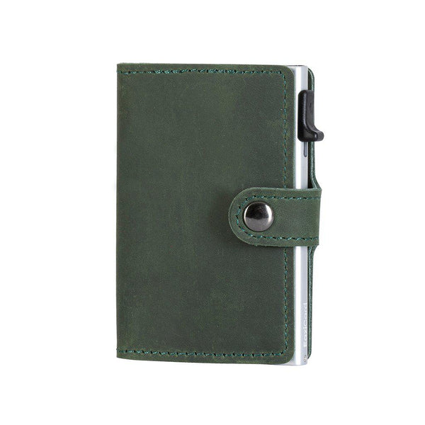 EaziCard Genuine Leather Saddle RFID Wallet | Green/Silver - KaryKase