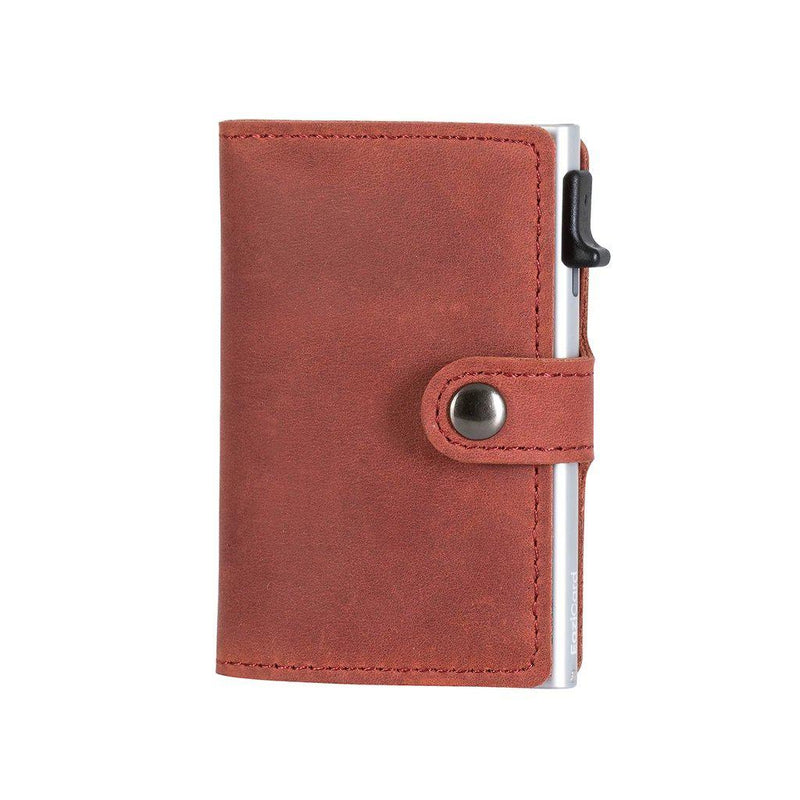 EaziCard Genuine Leather Saddle RFID Wallet | Red/Silver - KaryKase