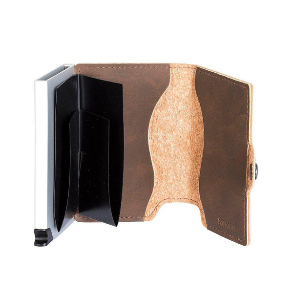 EaziCard RFID PU Leather Vintage Pattern Wallet | Dark Brown/Silver - KaryKase