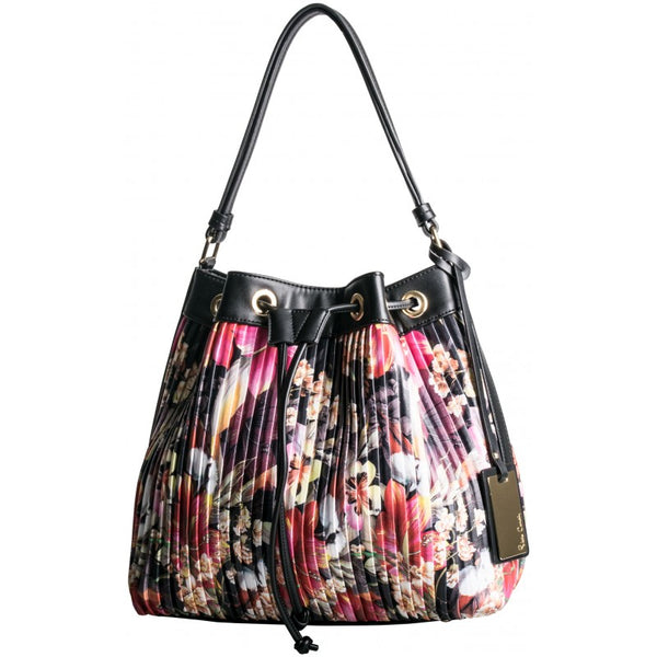 Pierre Cardin Florence Pleated Hobo | Black Floral - KaryKase
