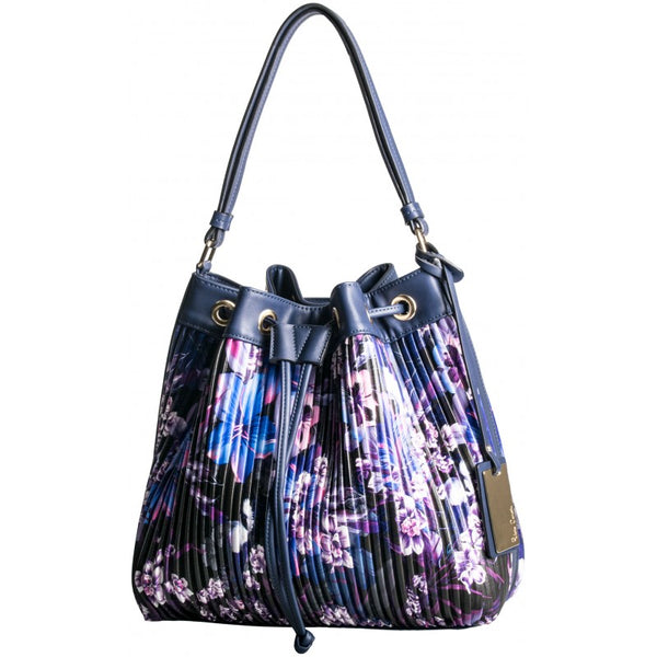 Pierre Cardin Florence Pleated Hobo | Blue Floral - KaryKase