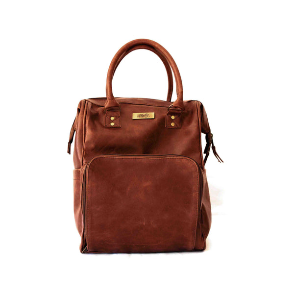 Mally Bambino Leather Baby Backpack | Brown - KaryKase