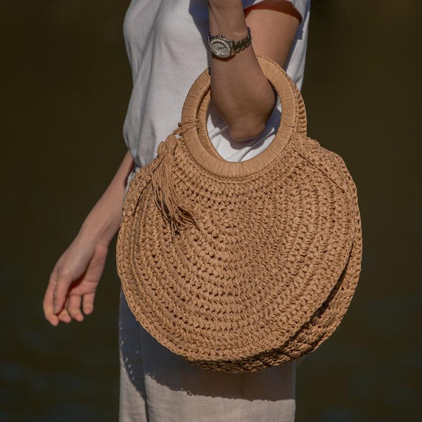 Semi Wild Round Crochet Bag with Round Handles | Light Brown - KaryKase