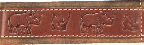 Johnny Black Rugged Leather 9CC Wallet | Brown With Rhino Detail - KaryKase