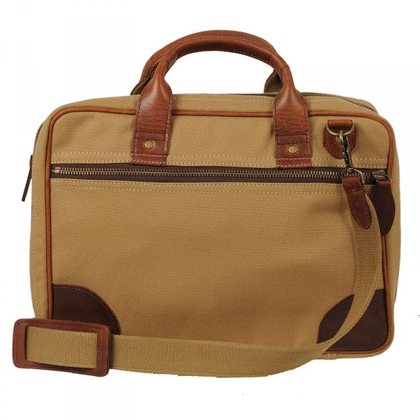 Melvill & Moon Canvas Laptop Bag | Khaki - KaryKase