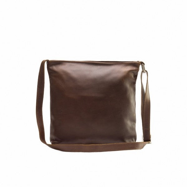 Emily Louise Large Leather Messenger Handbag | Tobacco - KaryKase