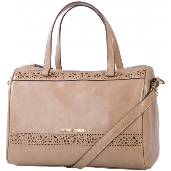 Pierre Cardin Laura Cut-Out Barrel Handbag | Taupe - KaryKase