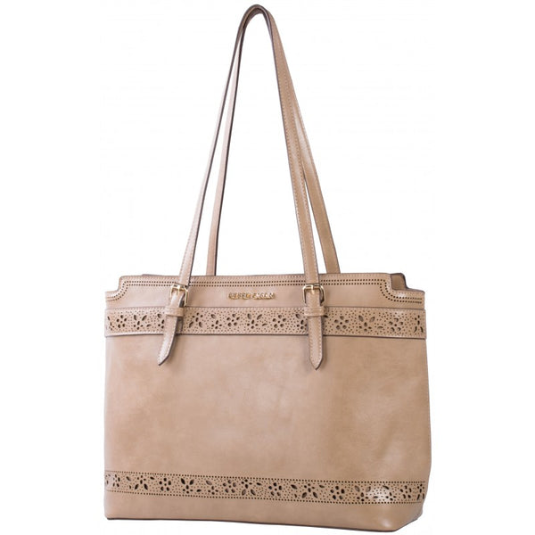 Pierre Cardin Laura Cut-Out Tote Handbag | Taupe - KaryKase