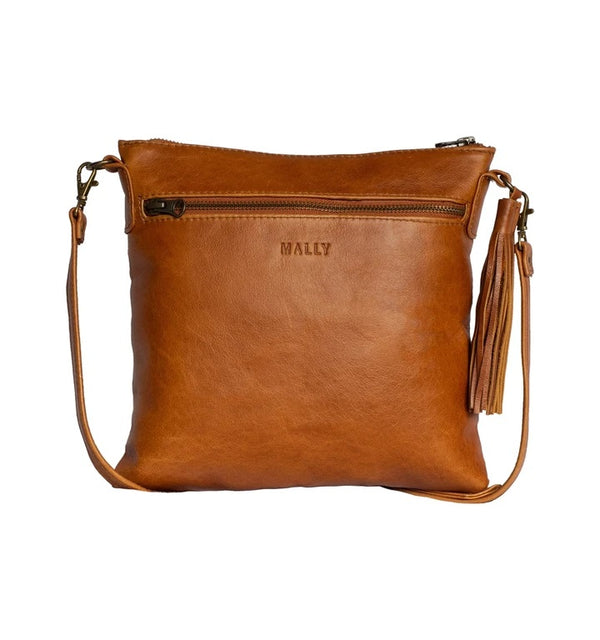 Mally Alexa Leather Sling Bag | Toffee - KaryKase