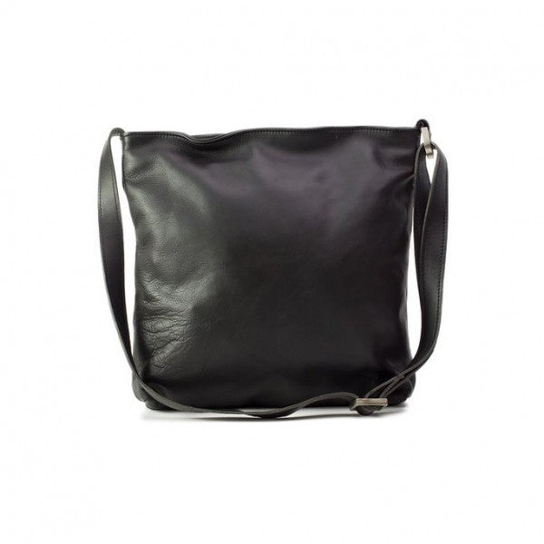 Emily Louise Large Leather Messenger Handbag | Black - KaryKase