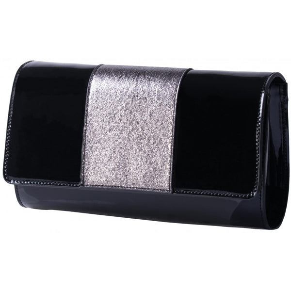 Pierre Cardin Mia Patent Evening Bag | Black - KaryKase