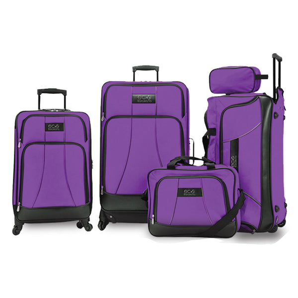 Eco Earth Barcelona 5 Piece Luggage Set | Purple