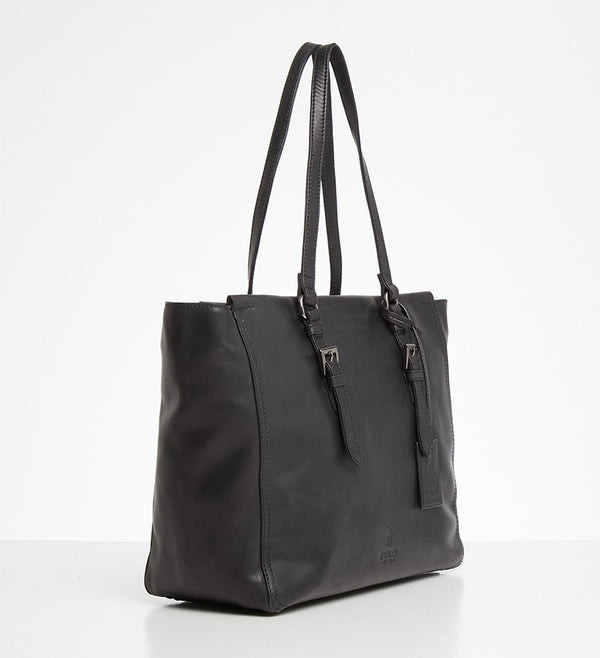 Polo Vega Leather Tote | Black - KaryKase