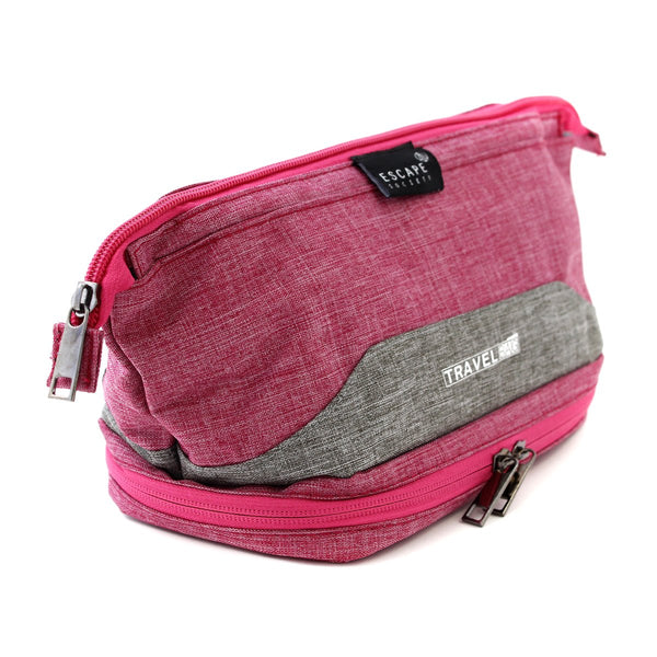 Escape Society Double-Deck Toiletry Bag | Pink