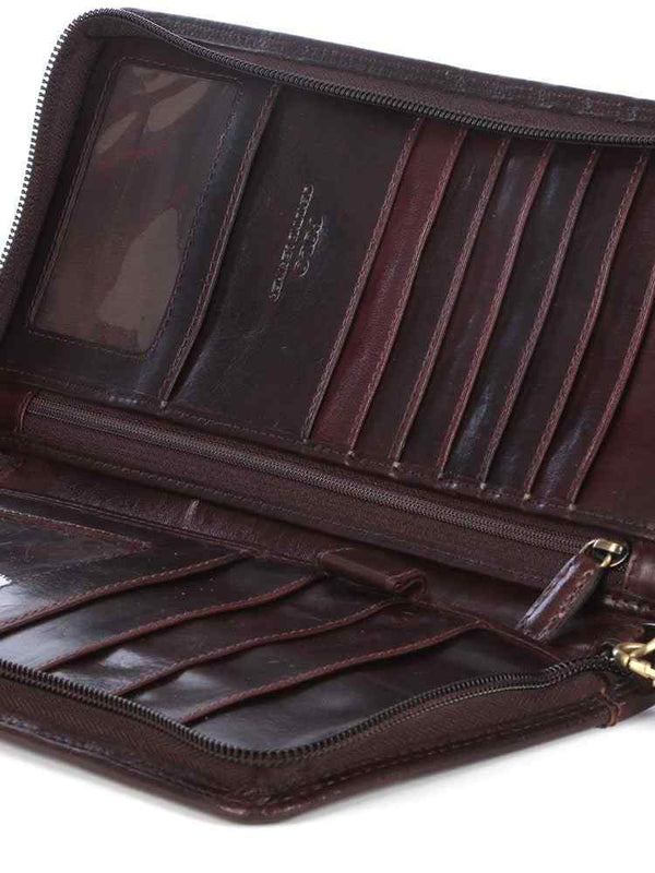 Polo Kenya Leather Single Zip Travel Wallet | Brown - KaryKase