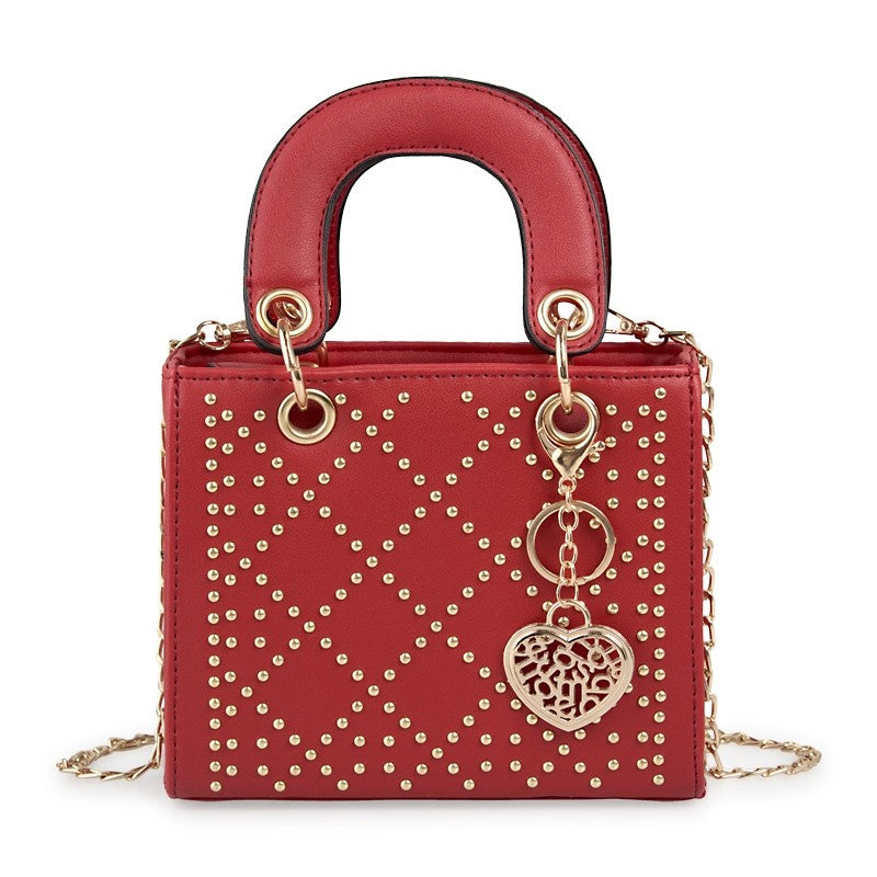 Tessa Design Patterned Stud Bag | Red - KaryKase