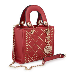 Tessa Design Patterned Stud Bag | Red
