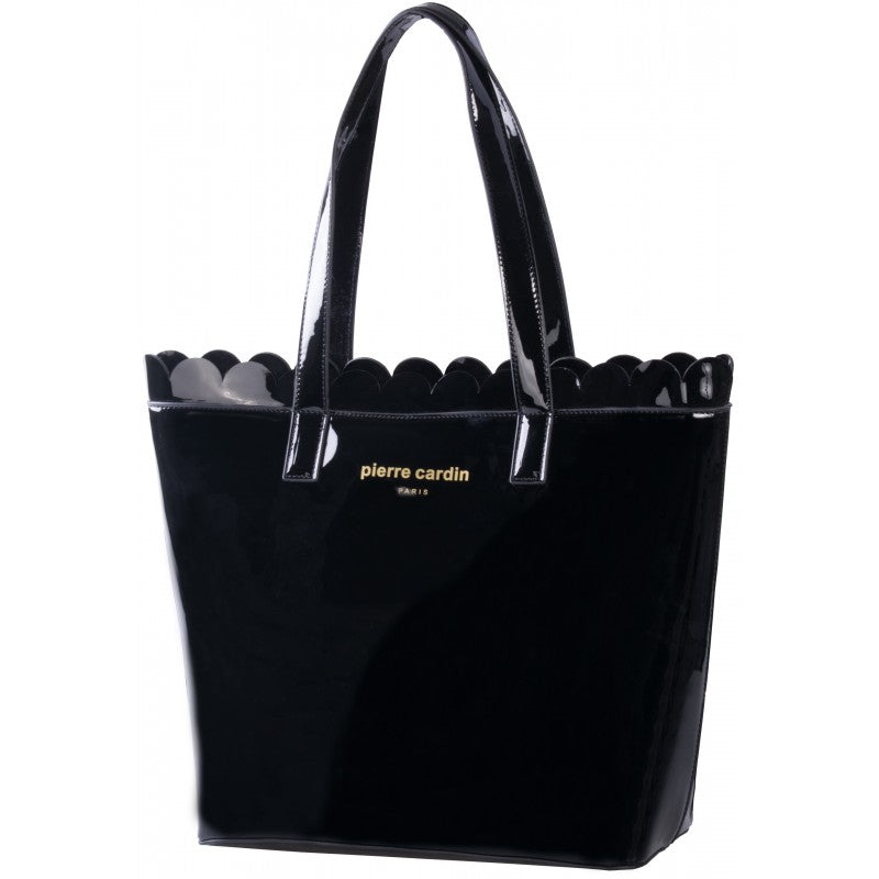 Pierre Cardin Scalloped Patent Tote | Black - KaryKase