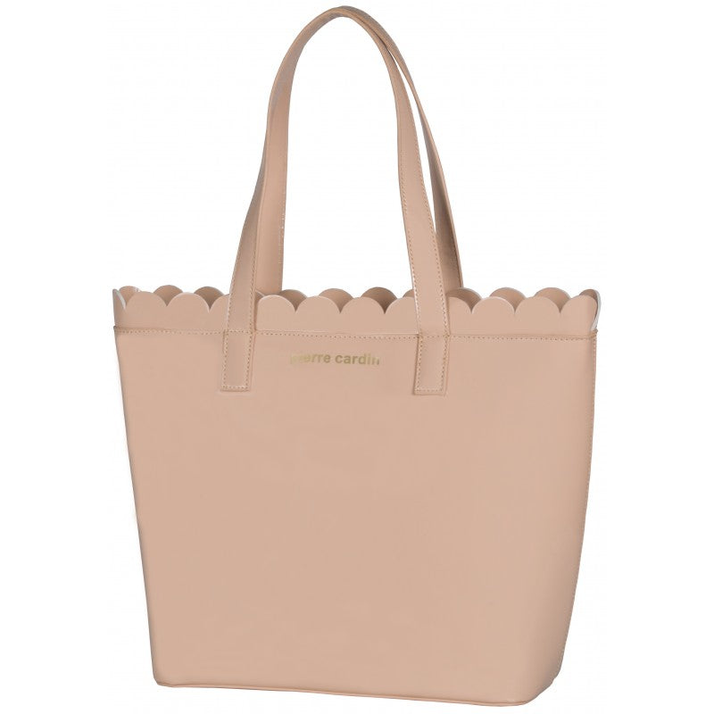 Pierre Cardin Scalloped Patent Tote | Nude - KaryKase