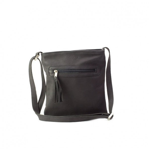 Emily Louise Small Leather Messenger Handbag | Black - KaryKase