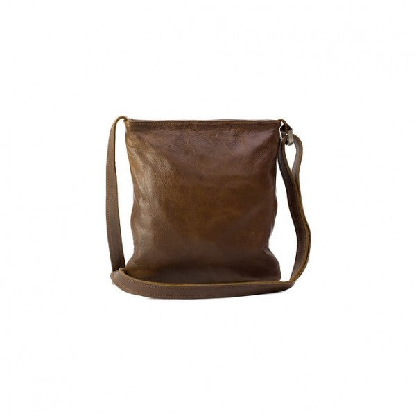 Emily Louise Small Leather Messenger Handbag | Tobacco - KaryKase