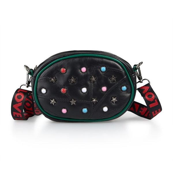 Tessa Design Studs And Stars Waist Bag | Black - KaryKase