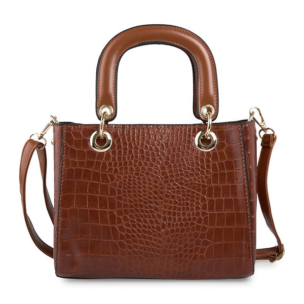 Tessa Design Croc Skin Bag | Tan