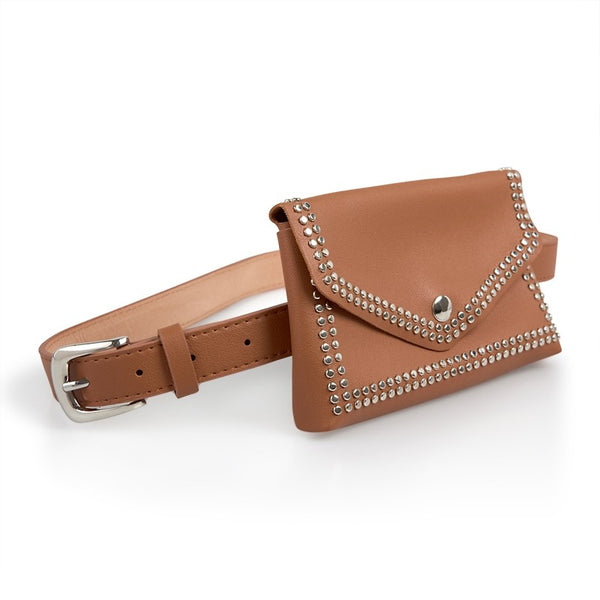 Tessa Design Stud Trim Waist Bag | Tan - KaryKase