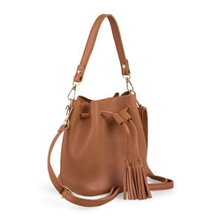 Tessa Design Tassel Bucket Bag | Tan