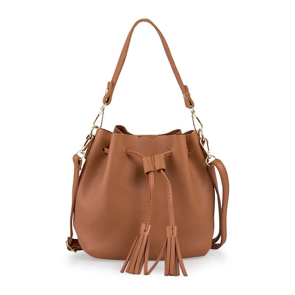 Tessa Design Tassel Bucket Bag | Tan - KaryKase